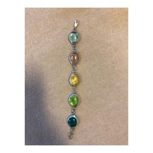 Jewelry - Colored glass and silver bracelet - new!
